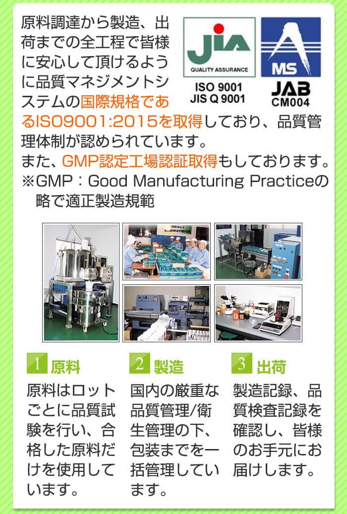 チロシンはGMP認定工場の認証を取得した工場で製造